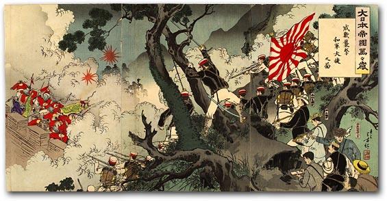 「大日本帝国万々歳 成歓衝撃我軍大勝之図」、木版画