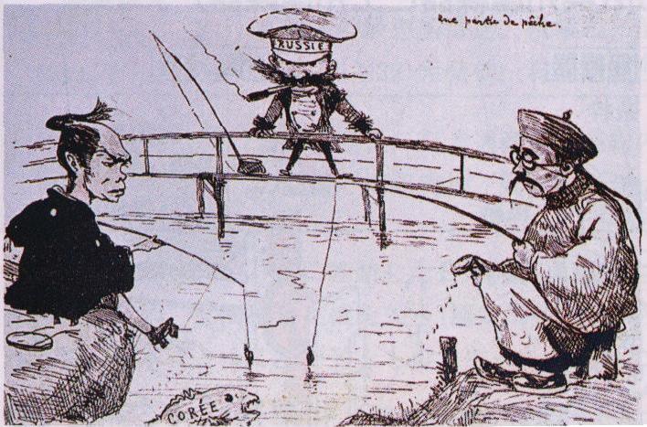 ジョルジュ・ビゴーによる当時の風刺画(1887年) 日本と中国(清)が互いに釣って捕らえようとしている魚(朝鮮)をロシアも狙っている。